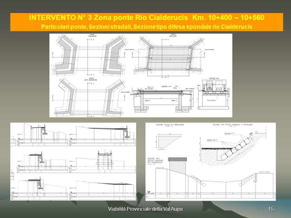 INTERVENTO N° 3 Zona ponte Rio Cialderucis Km. 10+400 – 10+560