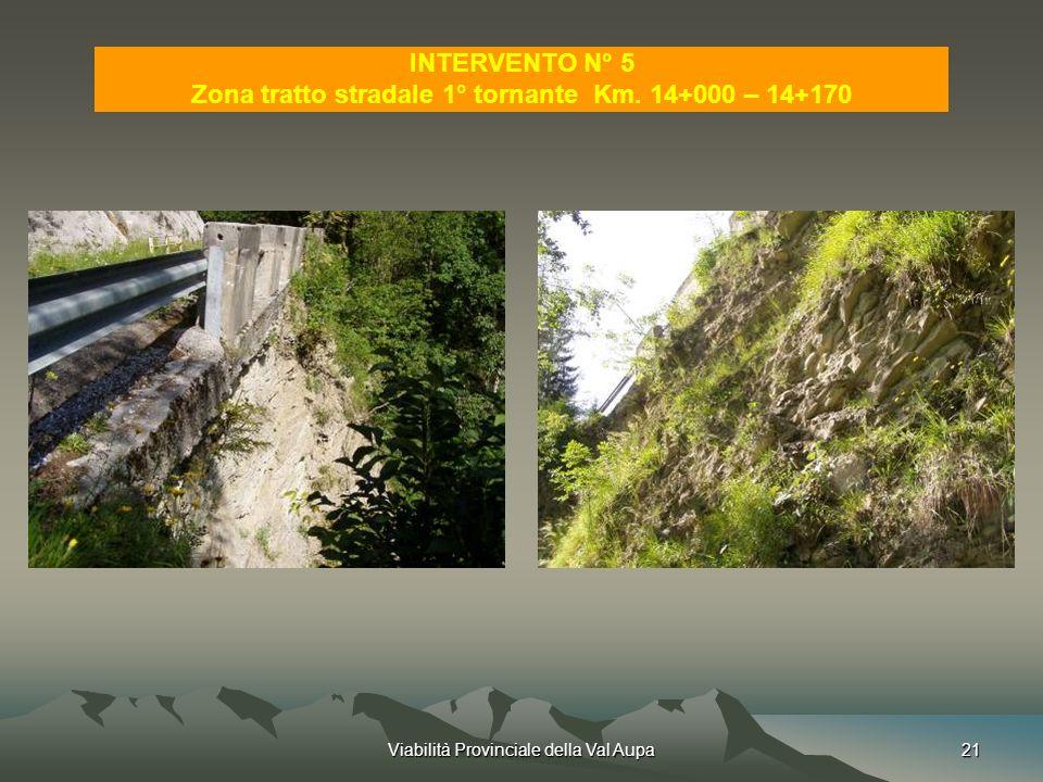 Zona tratto stradale 1° tornante Km. 14+000 – 14+170