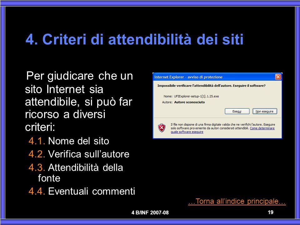4. Criteri di attendibilità dei siti