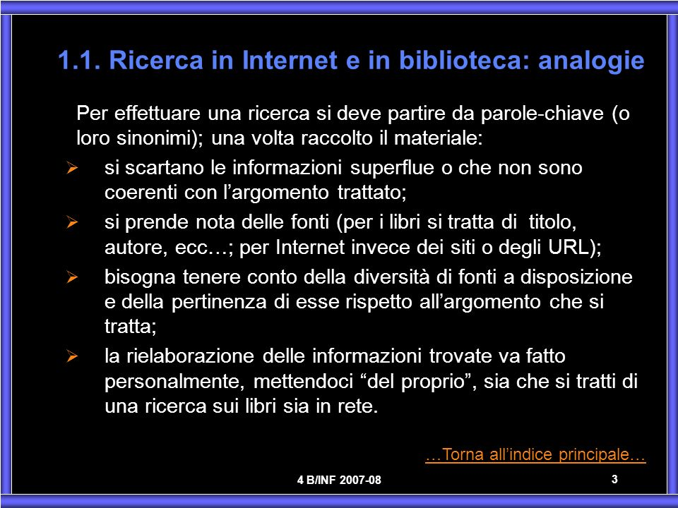 1.1. Ricerca in Internet e in biblioteca: analogie
