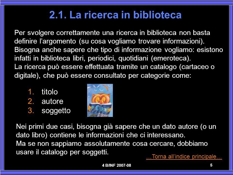 2.1. La ricerca in biblioteca