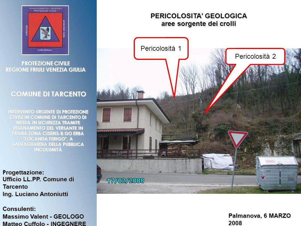 PERICOLOSITA GEOLOGICA aree sorgente dei crolli