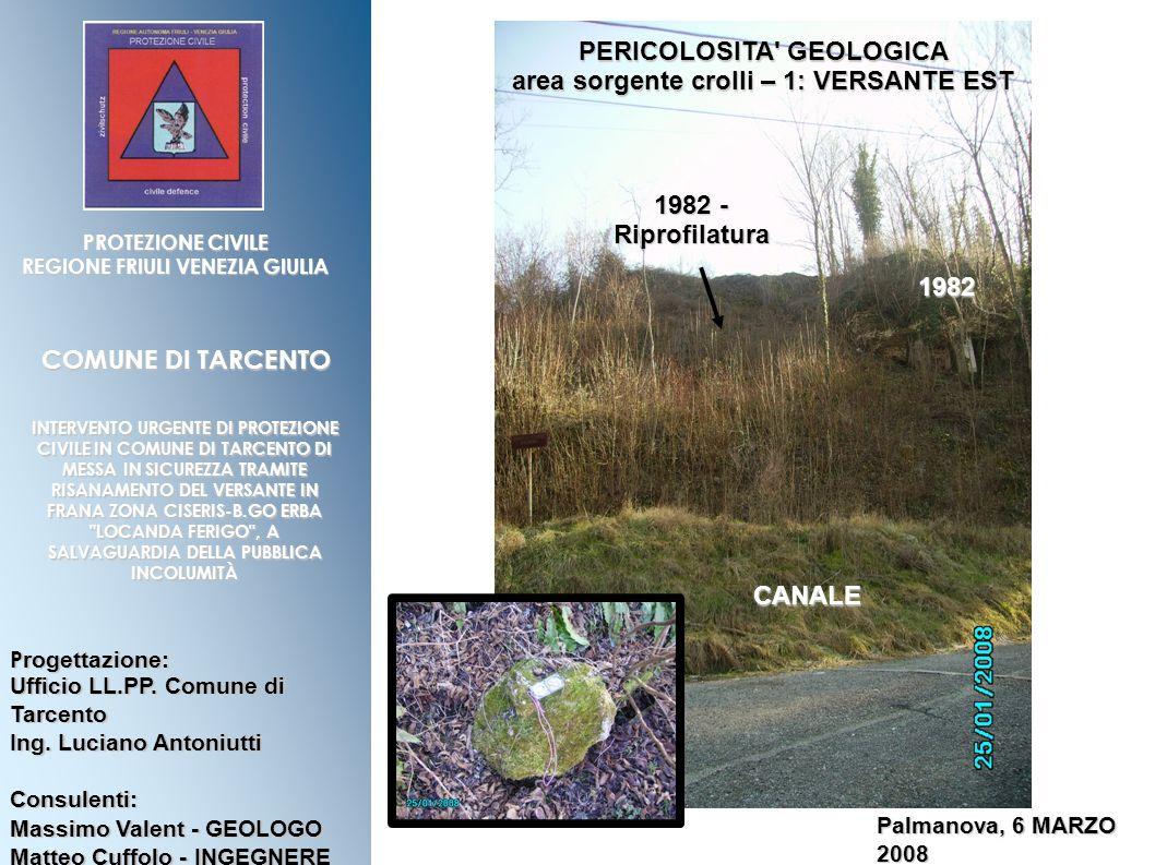 PERICOLOSITA GEOLOGICA area sorgente crolli – 1: VERSANTE EST
