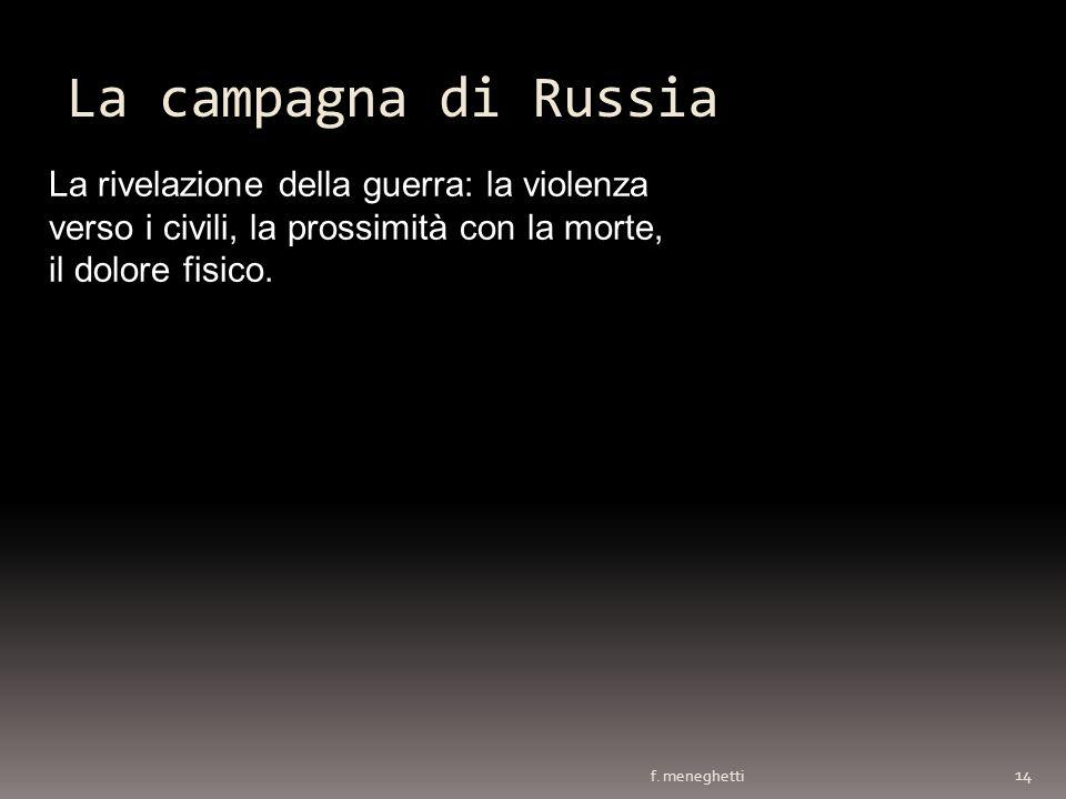 La campagna di Russia La rivelazione della guerra: la violenza verso i civili, la prossimità con la morte, il dolore fisico.
