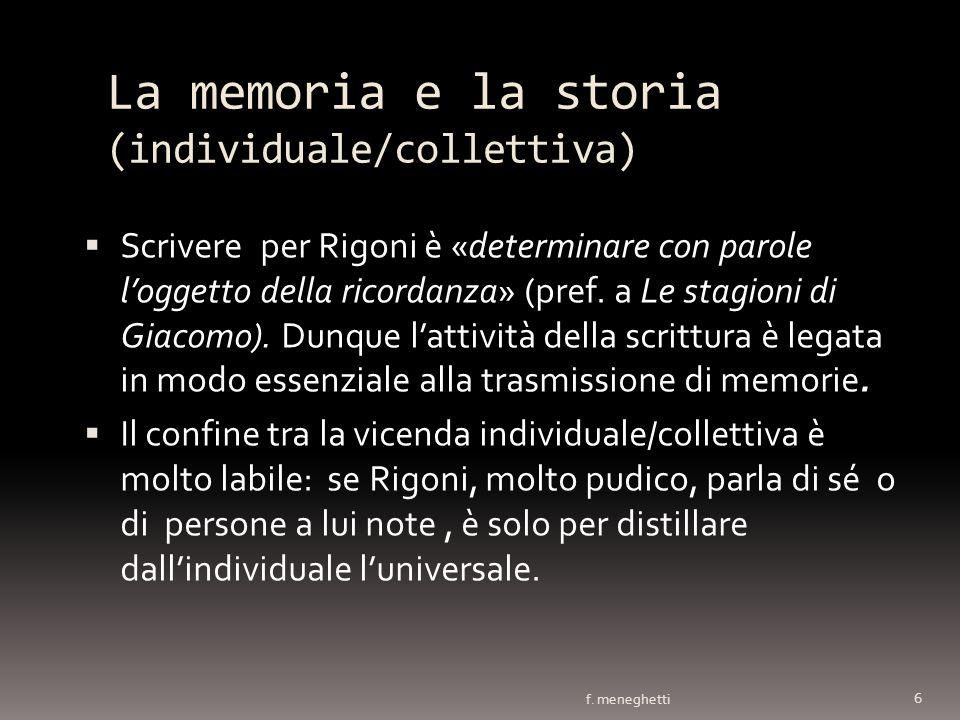 La memoria e la storia (individuale/collettiva)