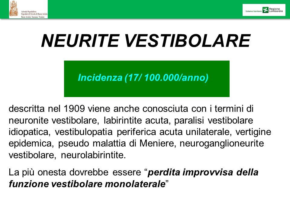 NEURITE VESTIBOLARE Incidenza (17/ 100.000/anno)