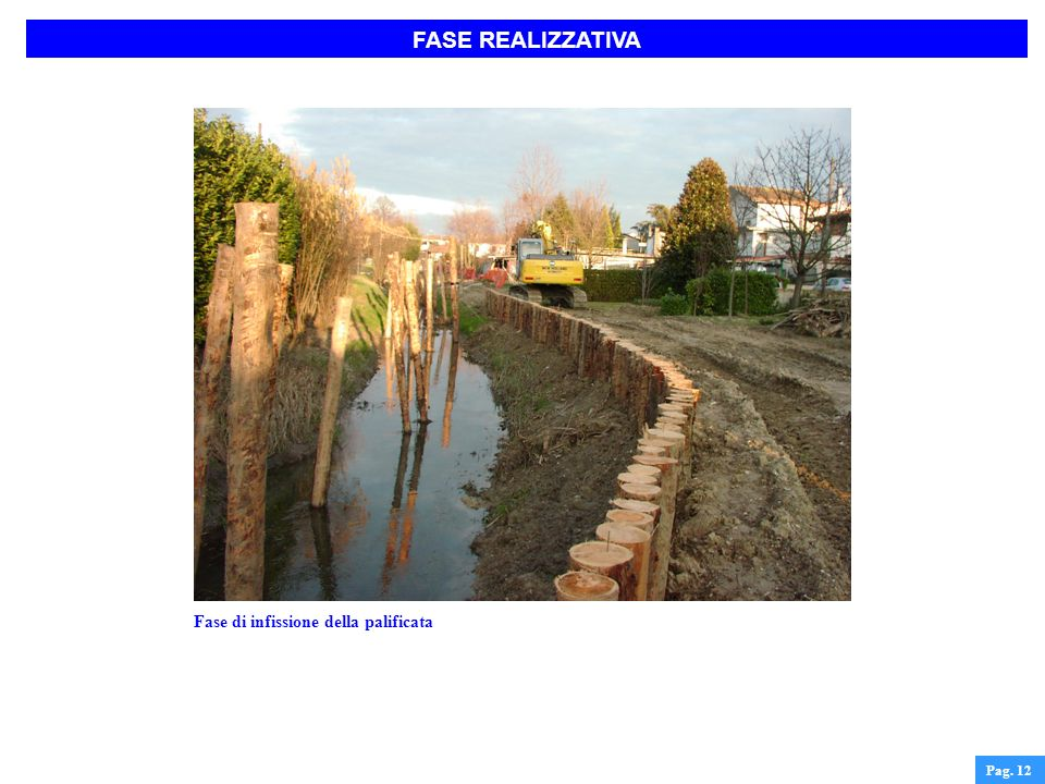 FASE REALIZZATIVA Fase di infissione della palificata Pag. 12