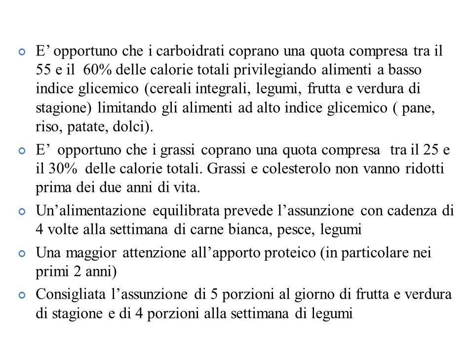 E' opportuno che i carboidrati coprano una quota compresa tra il 55 e il 60% delle calorie totali privilegiando alimenti a basso indice glicemico (cereali integrali, legumi, frutta e verdura di stagione) limitando gli alimenti ad alto indice glicemico ( pane, riso, patate, dolci).