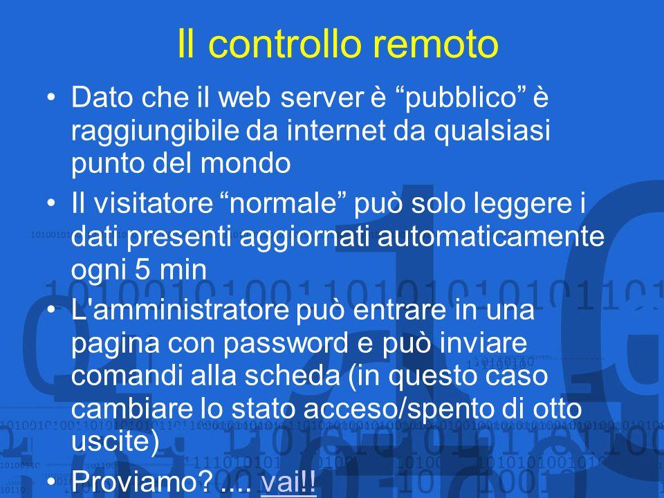 Il controllo remoto Dato che il web server è pubblico è raggiungibile da internet da qualsiasi punto del mondo.