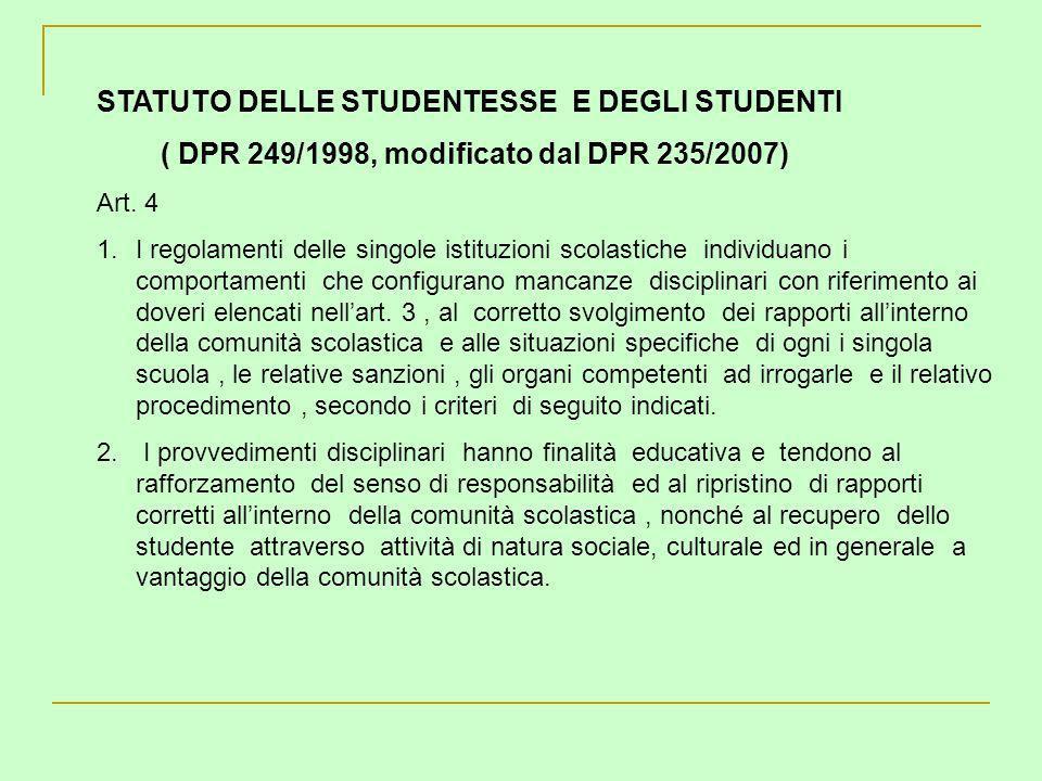 STATUTO DELLE STUDENTESSE E DEGLI STUDENTI