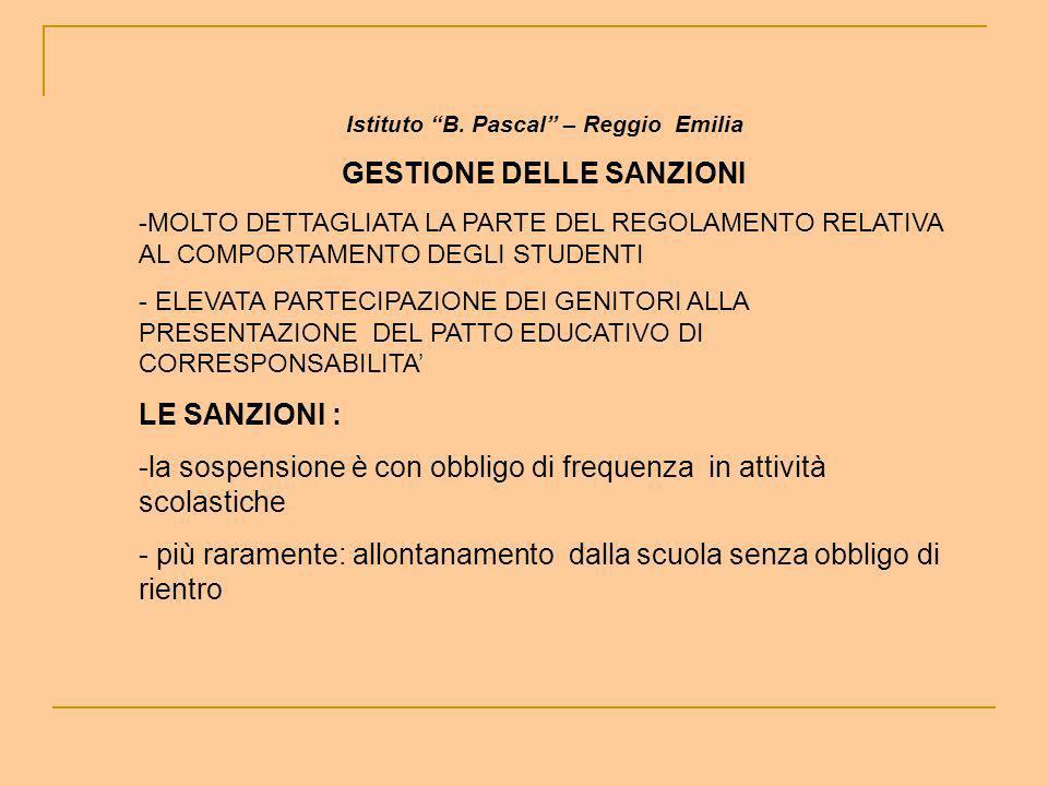 Istituto B. Pascal – Reggio Emilia GESTIONE DELLE SANZIONI