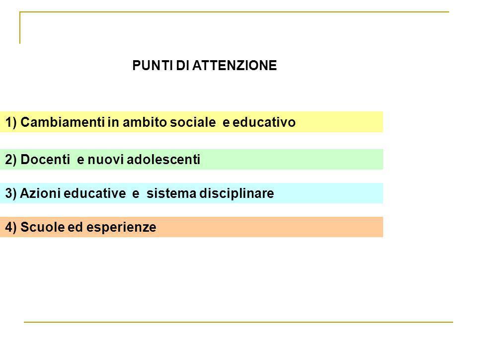 PUNTI DI ATTENZIONE 1) Cambiamenti in ambito sociale e educativo. 2) Docenti e nuovi adolescenti.
