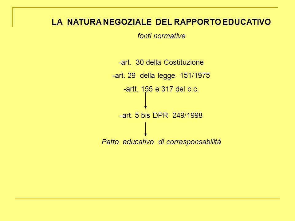 LA NATURA NEGOZIALE DEL RAPPORTO EDUCATIVO
