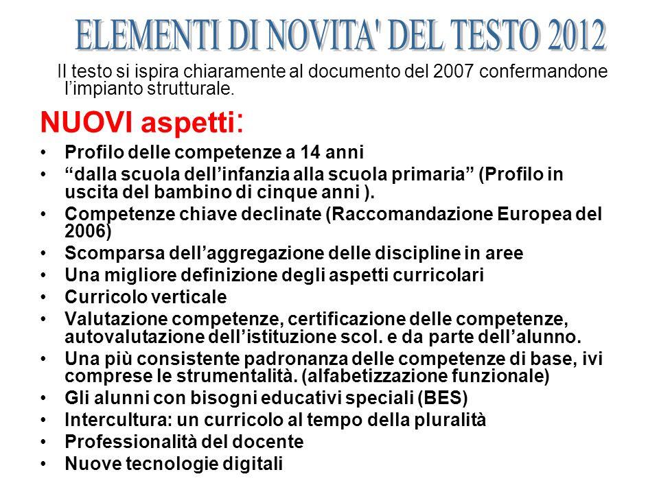 ELEMENTI DI NOVITA DEL TESTO 2012