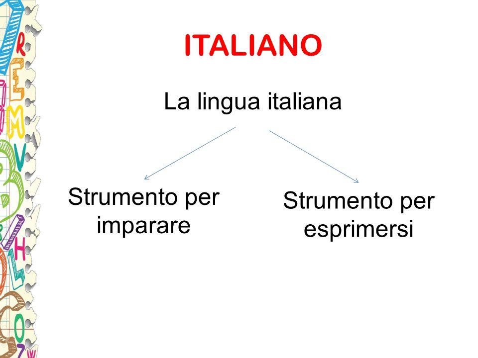 ITALIANO La lingua italiana Strumento per Strumento per imparare