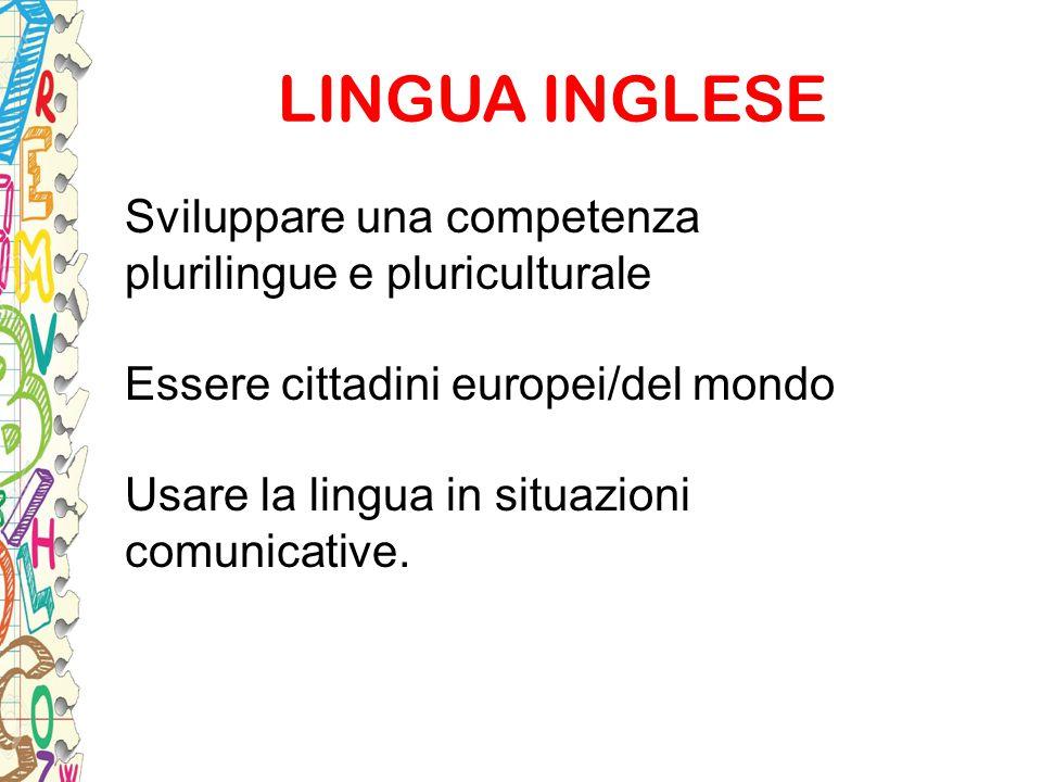 LINGUA INGLESE Sviluppare una competenza plurilingue e pluriculturale Essere cittadini europei/del mondo Usare la lingua in situazioni comunicative.