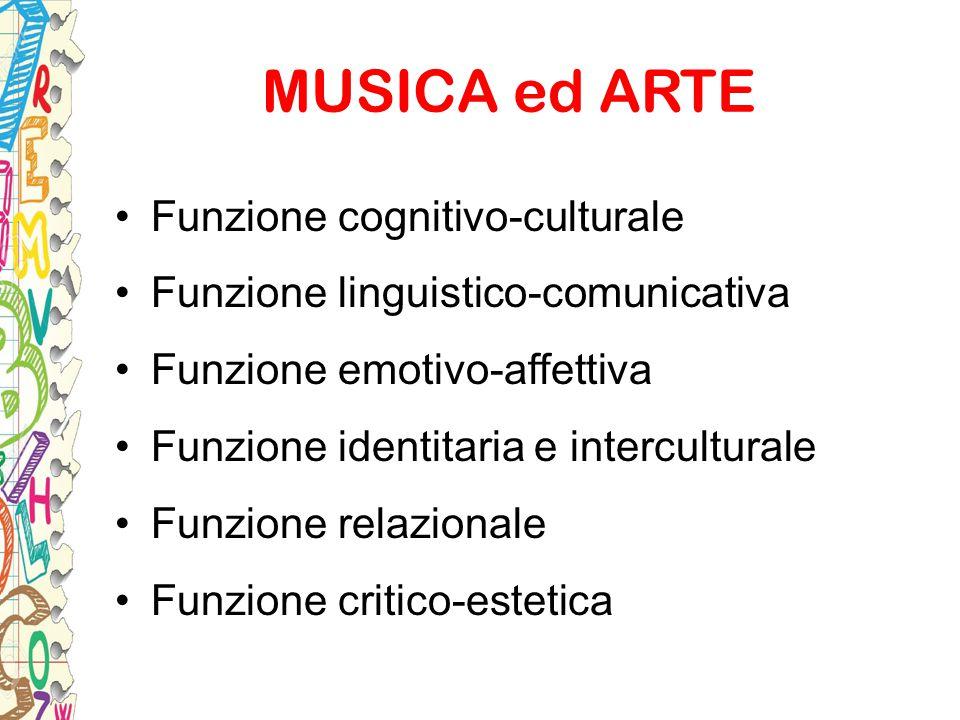 MUSICA ed ARTE Funzione cognitivo-culturale