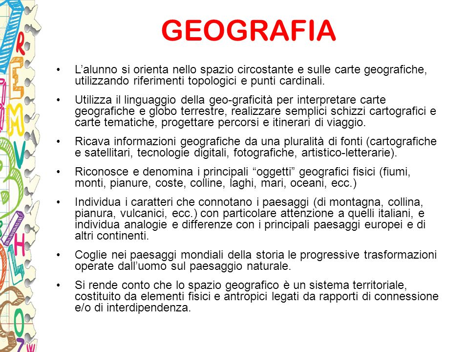 GEOGRAFIA L'alunno si orienta nello spazio circostante e sulle carte geografiche, utilizzando riferimenti topologici e punti cardinali.