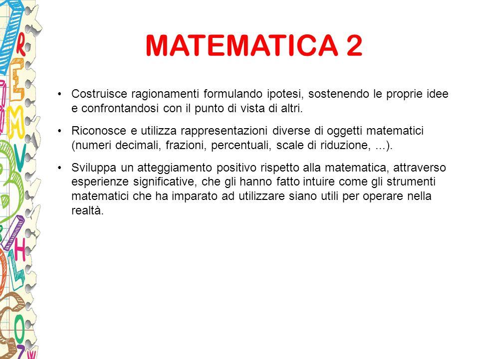 MATEMATICA 2 Costruisce ragionamenti formulando ipotesi, sostenendo le proprie idee e confrontandosi con il punto di vista di altri.
