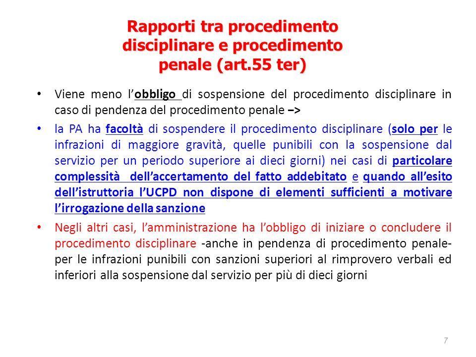 Rapporti tra procedimento disciplinare e procedimento penale (art