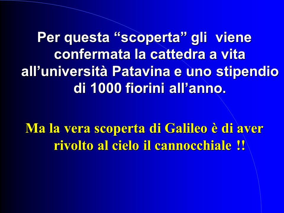 Per questa scoperta gli viene confermata la cattedra a vita all'università Patavina e uno stipendio di 1000 fiorini all'anno.