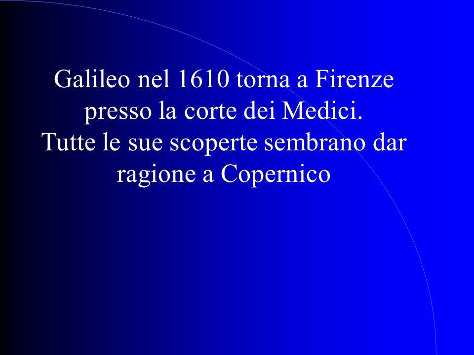 Galileo nel 1610 torna a Firenze presso la corte dei Medici.