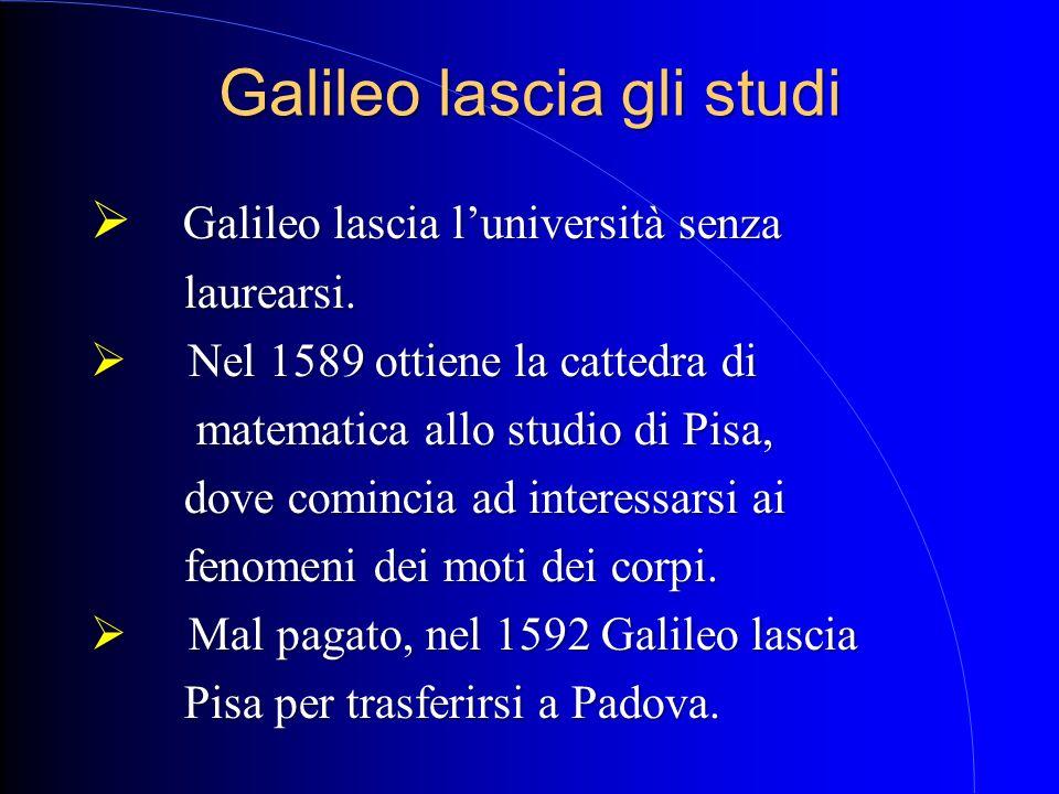 Galileo lascia gli studi