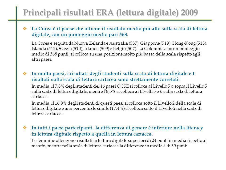 Principali risultati ERA (lettura digitale) 2009