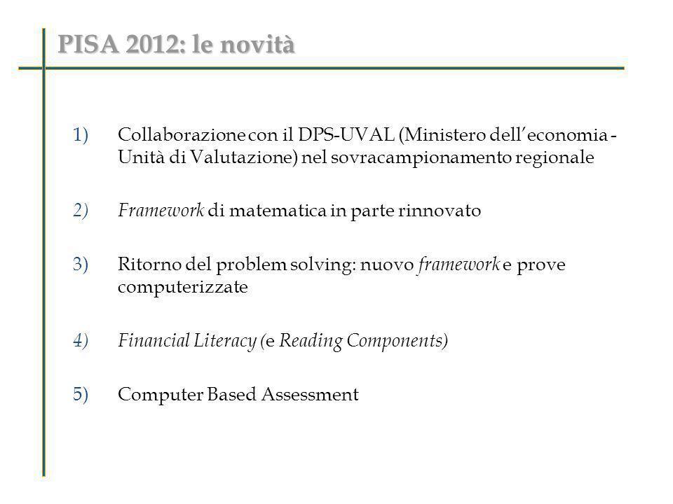 PISA 2012: le novità Collaborazione con il DPS-UVAL (Ministero dell'economia - Unità di Valutazione) nel sovracampionamento regionale.