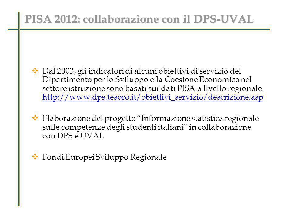 PISA 2012: collaborazione con il DPS-UVAL