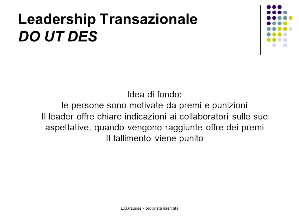 Leadership Transazionale DO UT DES