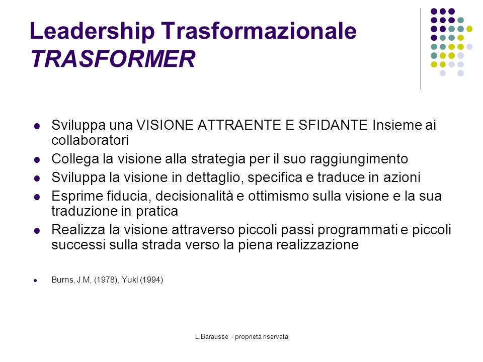 Leadership Trasformazionale TRASFORMER