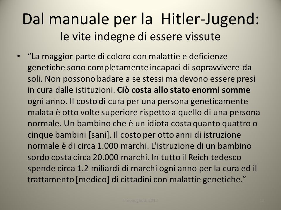 Dal manuale per la Hitler-Jugend: le vite indegne di essere vissute