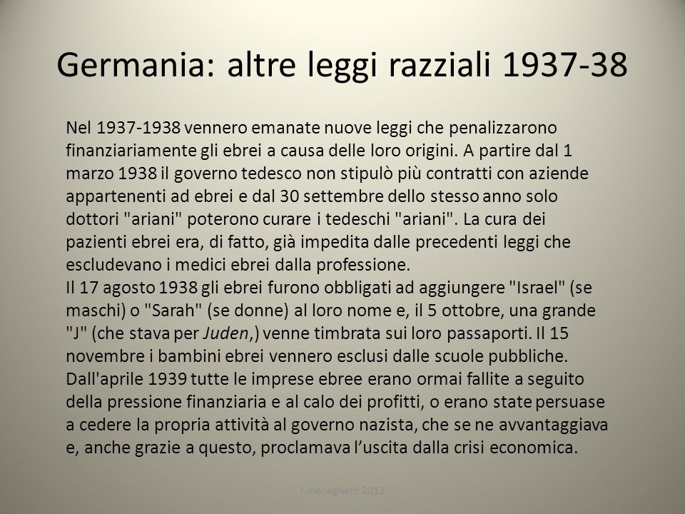 Germania: altre leggi razziali 1937-38