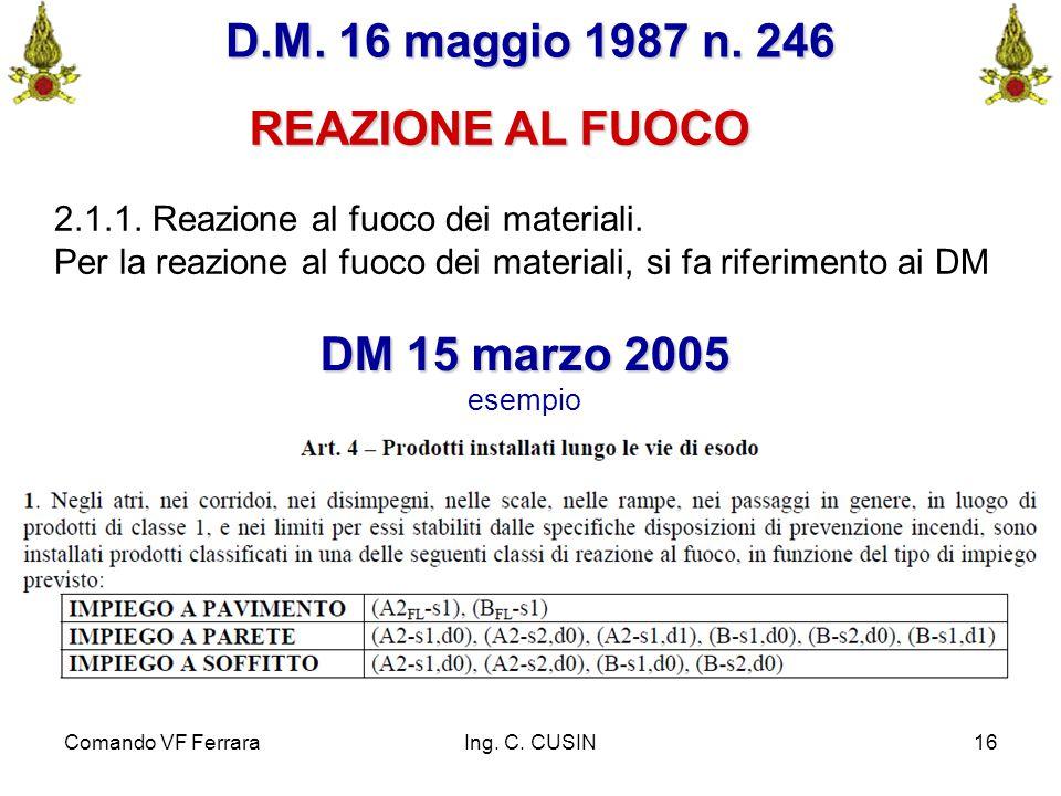 D.M. 16 maggio 1987 n. 246 REAZIONE AL FUOCO DM 15 marzo 2005