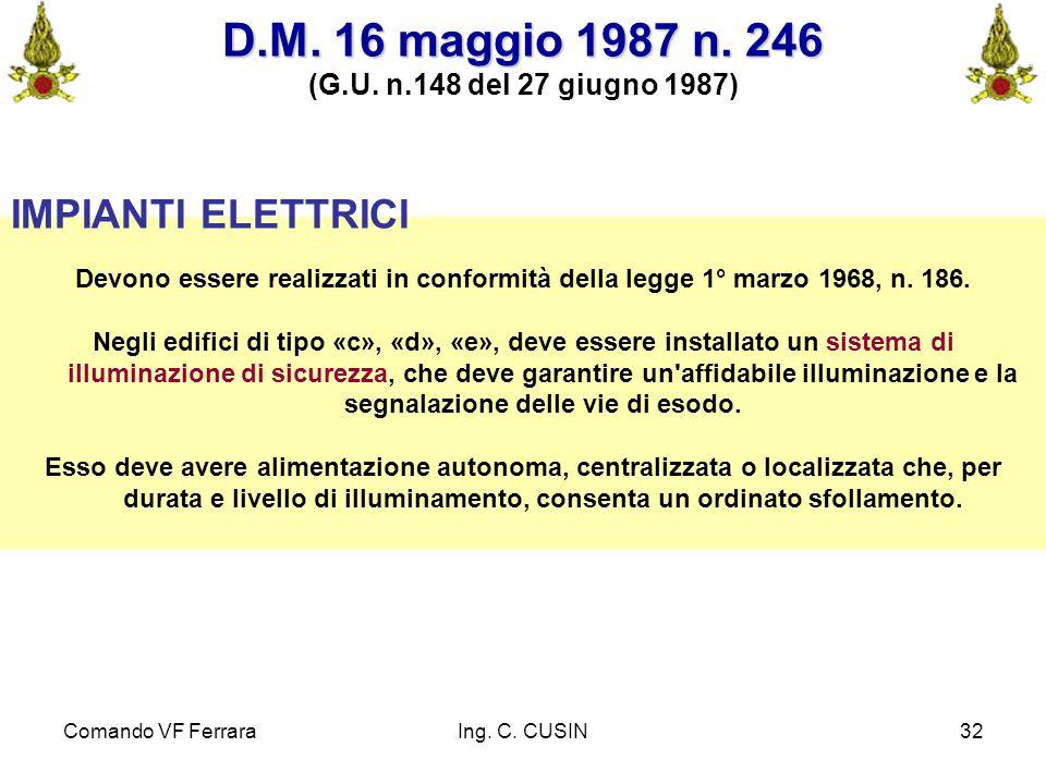 D.M. 16 maggio 1987 n. 246 IMPIANTI ELETTRICI