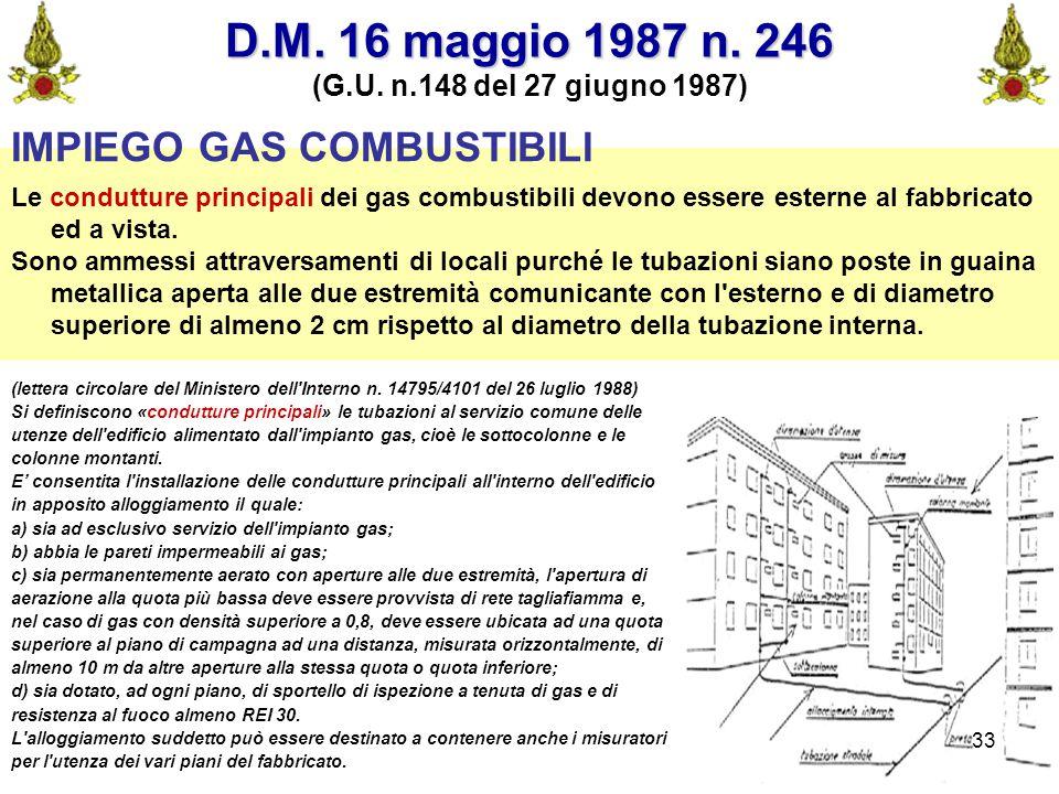 D.M. 16 maggio 1987 n. 246 IMPIEGO GAS COMBUSTIBILI