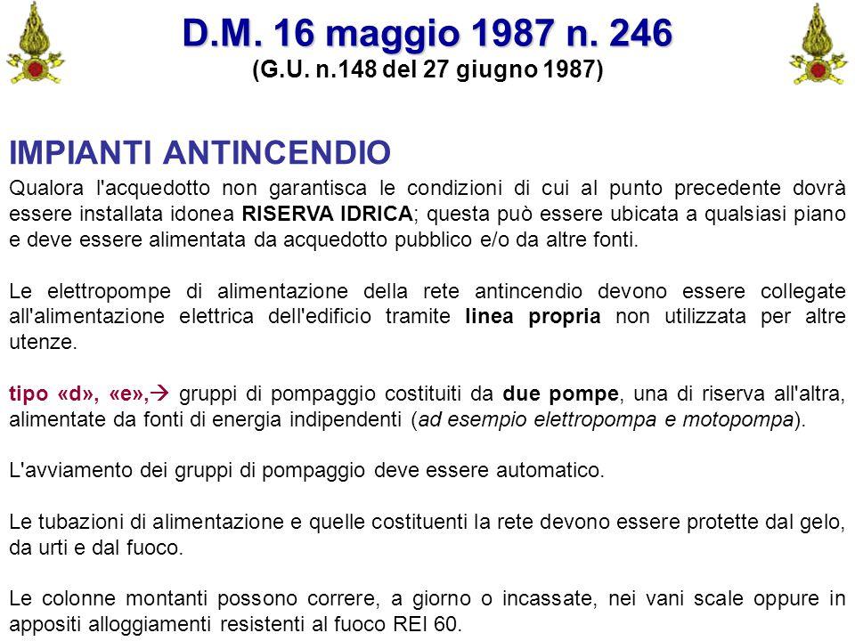 D.M. 16 maggio 1987 n. 246 IMPIANTI ANTINCENDIO