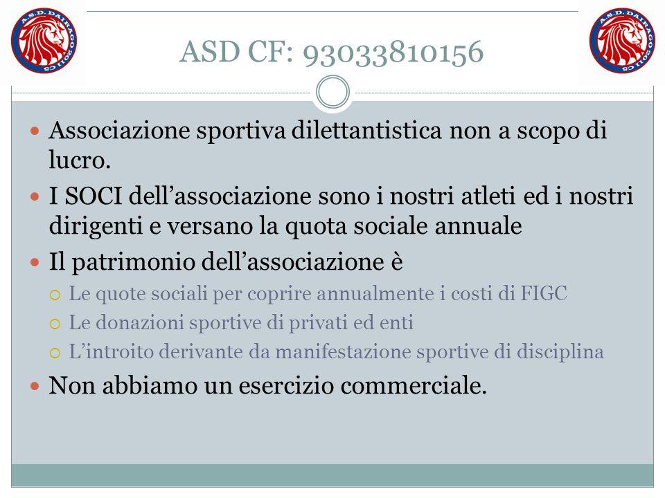 ASD CF: 93033810156 Associazione sportiva dilettantistica non a scopo di lucro.