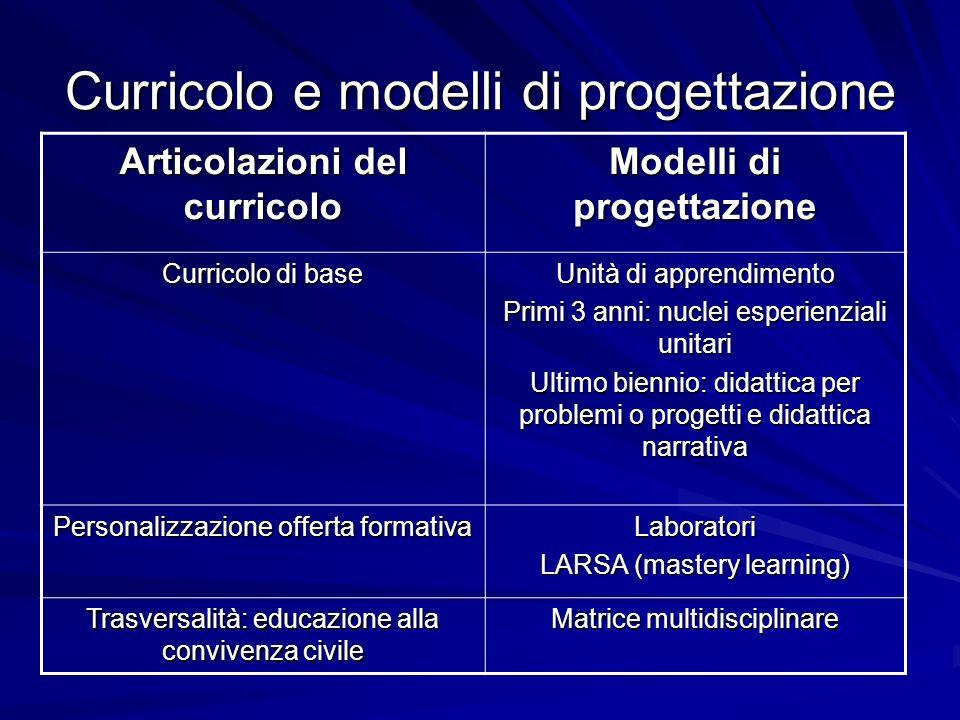Curricolo e modelli di progettazione