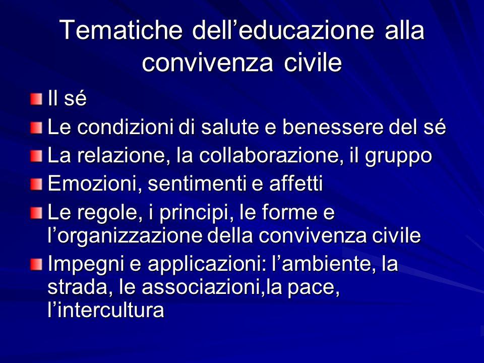Tematiche dell'educazione alla convivenza civile
