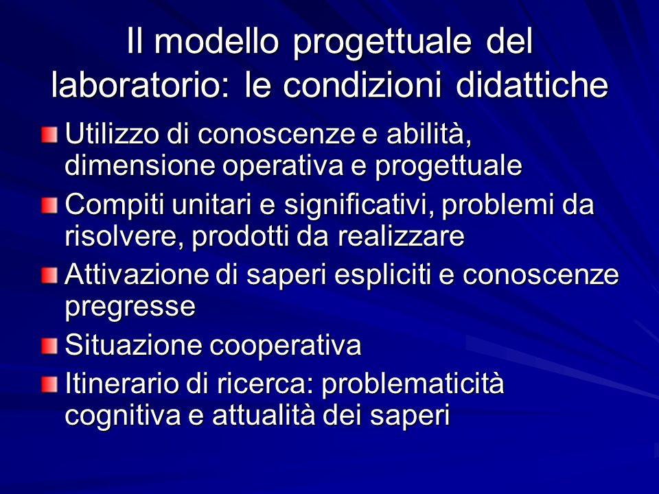 Il modello progettuale del laboratorio: le condizioni didattiche