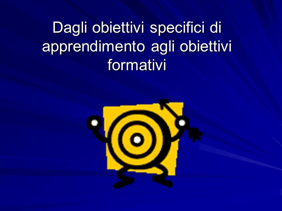 Dagli obiettivi specifici di apprendimento agli obiettivi formativi