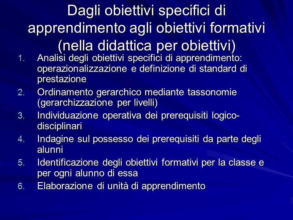 Dagli obiettivi specifici di apprendimento agli obiettivi formativi (nella didattica per obiettivi)
