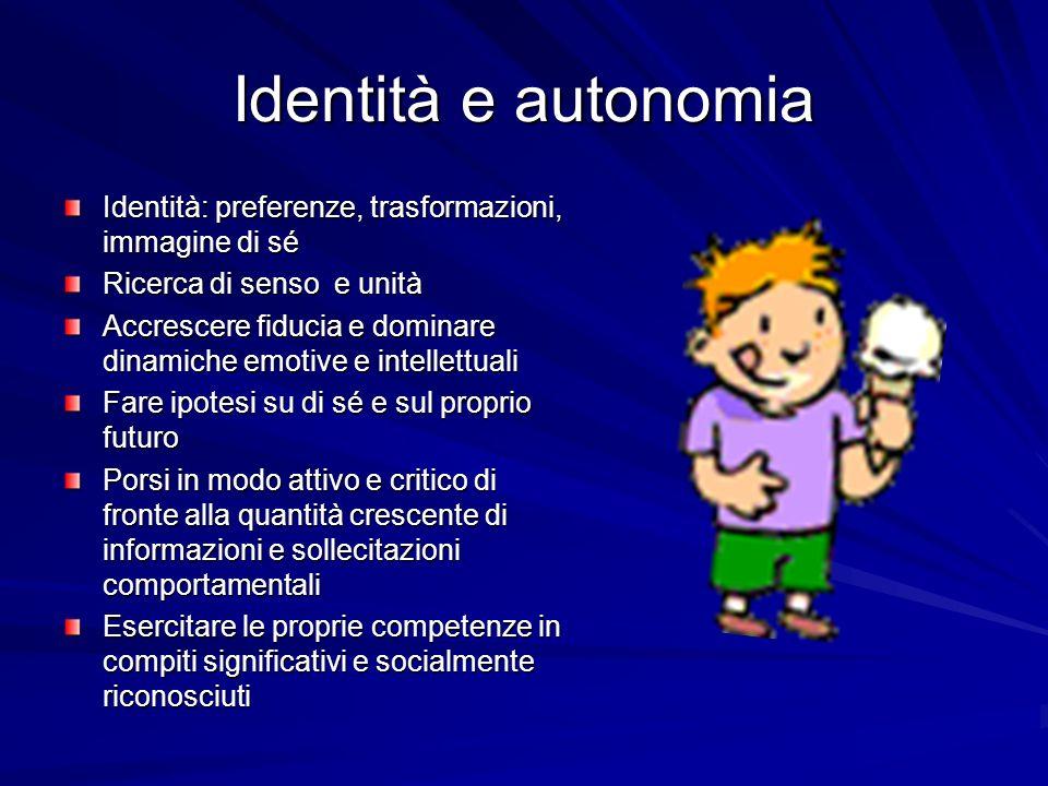 Identità e autonomia Identità: preferenze, trasformazioni, immagine di sé. Ricerca di senso e unità.