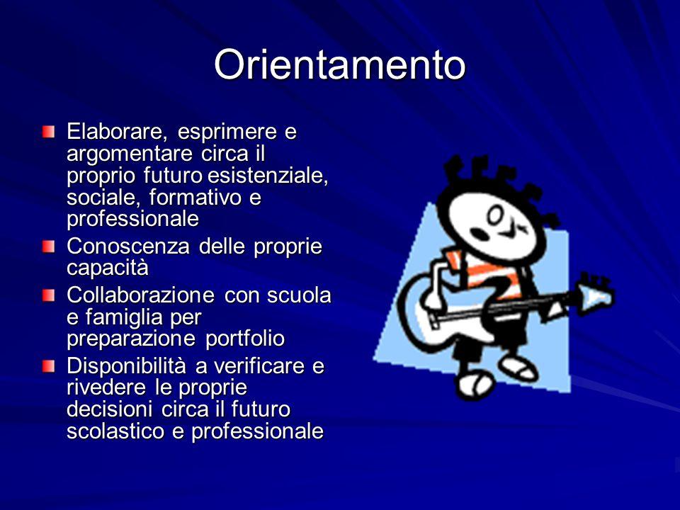 Orientamento Elaborare, esprimere e argomentare circa il proprio futuro esistenziale, sociale, formativo e professionale.