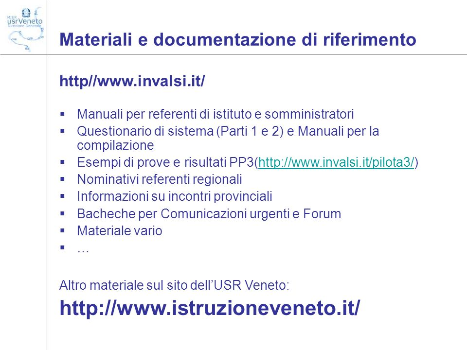 Materiali e documentazione di riferimento