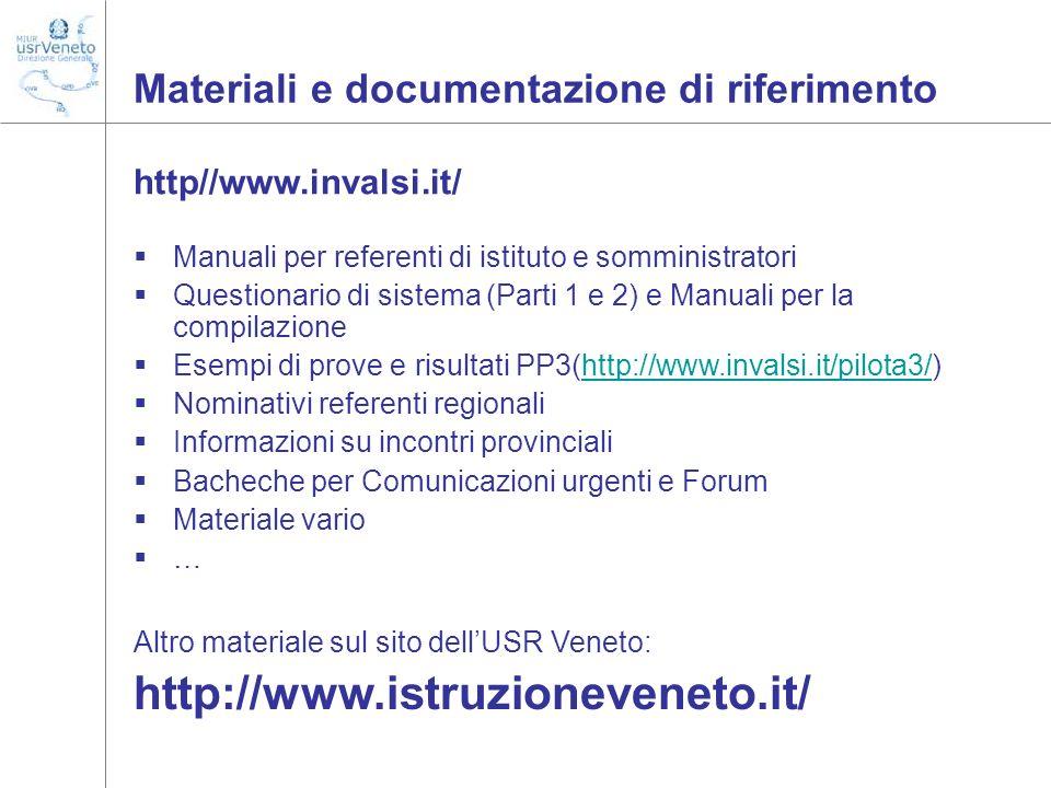 Materiali e documentazione di riferimento
