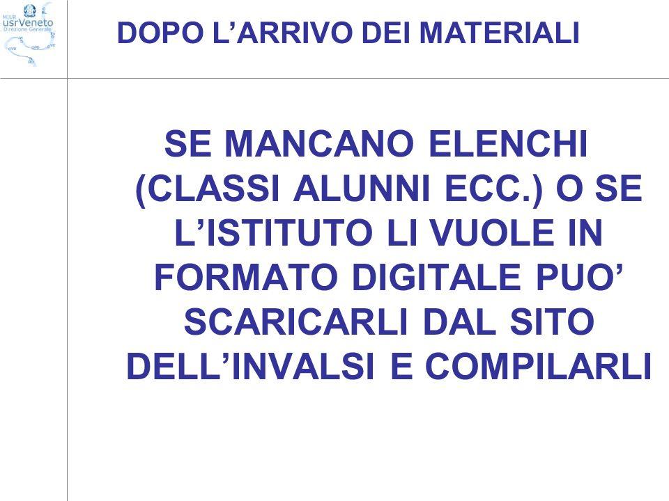 DOPO L'ARRIVO DEI MATERIALI