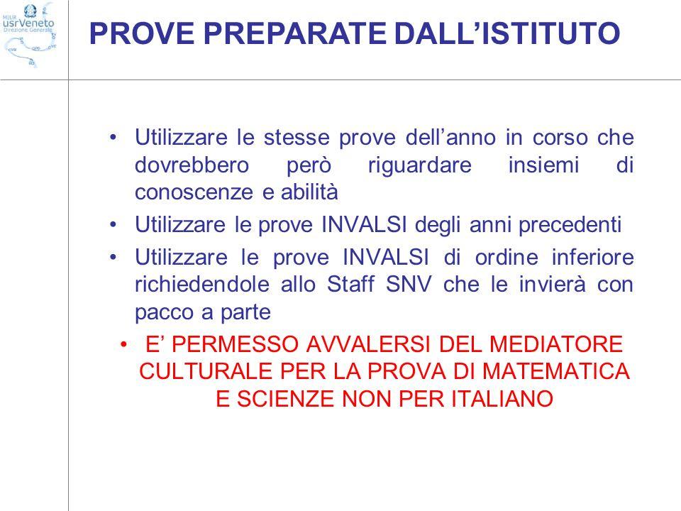 PROVE PREPARATE DALL'ISTITUTO